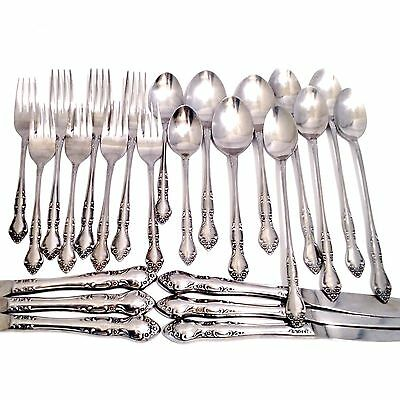 24 Piece Set Vintage Towle Supreme Cutlery Floral Stainless Flatware Lot Floral