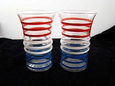 2 Anchor Hocking Betsy Ross Striped Tumblers