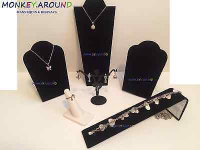 LOT 6 Elegant Jewelry Display Watch Bracelet Ring Necklace Black Display Set NEW
