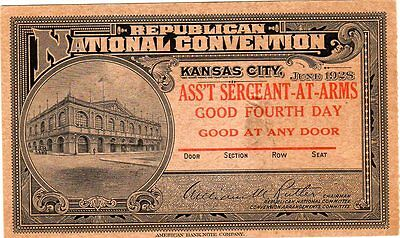1928 Repubican National Convention Ticket Ass't Sergeant-at-arms