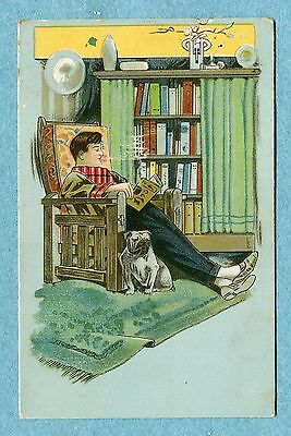G10106   Schmidt Advertising Postcard No.19   Man Reading in Chair With Dog