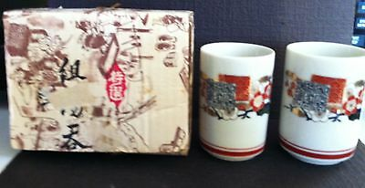 Beautiful Vintage Japanese Chinese Oriental White Porcelain Boxed Tea Cup Set 2