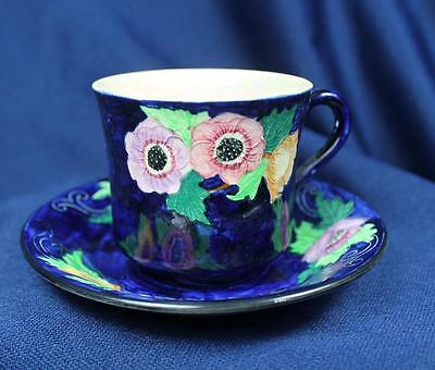Cobalt Floral Maling Newcastle On Tyne Cup & Saucer