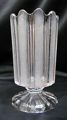 1870s EAPG Pattern Glass Bakewell Frosted Ribbon Rebecca/ Well Footed Spooner