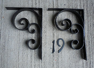 Vintage Shapely Pair Black Wrought Iron Shelf Brackets (#19)