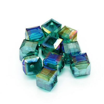 10pcs 10mm Faceted Square Cube Cut Glass Crystal Loose Spacer Beads B62