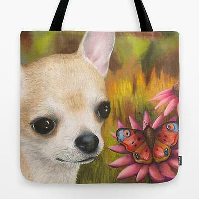 Tote Bag All over print Made in USA Dog 85 Chihuahua art painting by L.Dumas