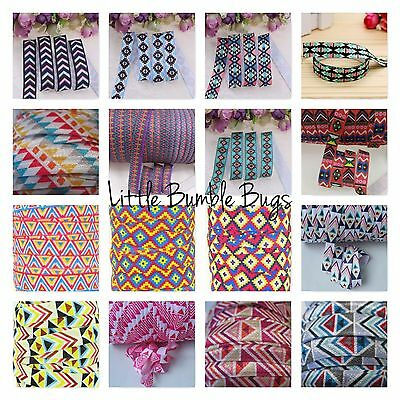Wholesale Foe Fold Over Elastic - Aztec Print By The Metre