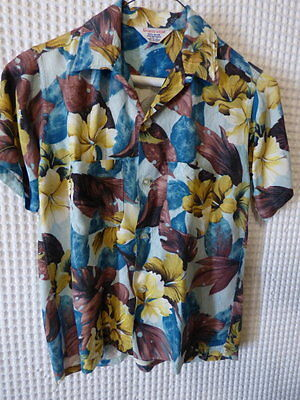 60s Boys tropical floral print loop button rayon shirt 12 34 chest
