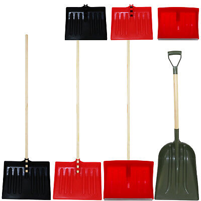 Snow Shovel Pusher Scoop Wooden Handle Debris Spade Muck Mucking Out Metal Edged