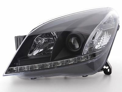 Vauxhall Astra H 04-08 Black DRL Devil Angel Eyes Front Headlights Lights - Pair