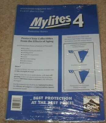 Pack of 50 Mylites 4 Mil Mylar Standard Magazine / Document Bags 9x11.5 Sleeves