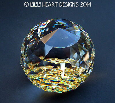 Swarovski Crystal VERY RARE BIG 70MM Gold Bottom Paperweight Lilli Heart Designs