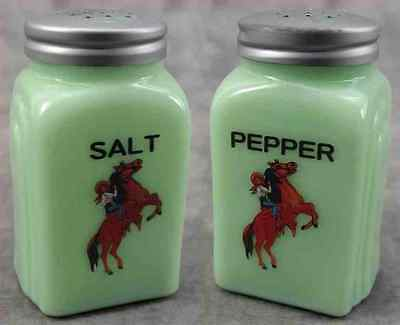 Jadeite Green Glass Western Cowgirl On Horseback Salt & Pepper Shaker Set