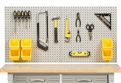 "New 24"" x 48"" Steel Peg Board Kit Tool Storage 23 Pegboard Hooks Panel 6 Bins"