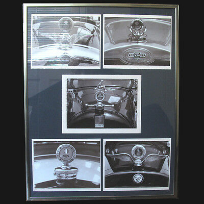 Vinatge Classic Hood Ornament Prints Framed Black and White Man Cave Nash Ford