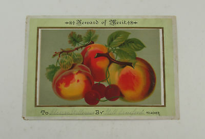 Reward of merit with a picture of peaches Vintage Trade Cards 6699