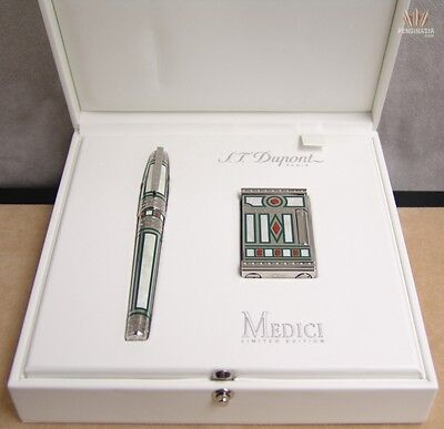 S.t Dupont Limited Edition Olympio Medici Fountain Pen And Lighter Dual Set Rare