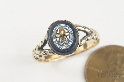 PRETTY ANTIQUE 9 CARAT GOLD FLY MICRO MOSAIC RING c1800s