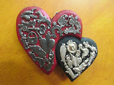 Double Sacred Heart #1-Milagros-Mexican Folk Art-5x4-Miracles-Wood-Handmade