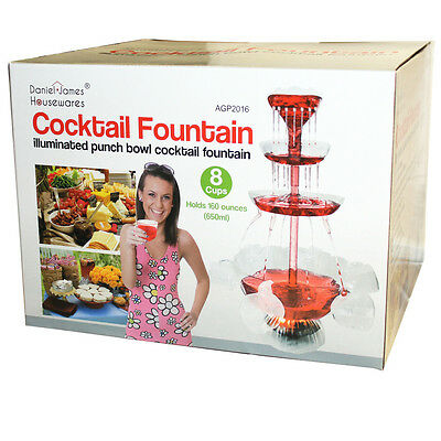 Electric Cocktail Fountain Illuminated Punch Bowl Beverage House Party 8 Cups