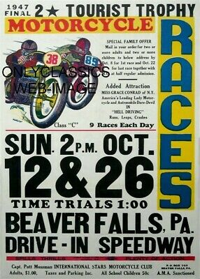 1947 Ama Motorcycle Racing Poster Beaver Hills Pa Speedway Harley & Indian Racer