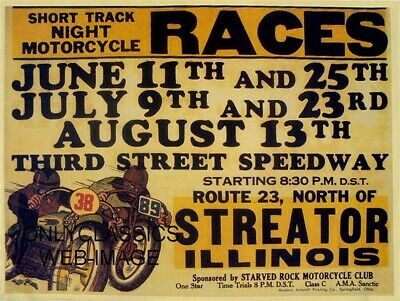 1947 Ama Motorcycle Racing Poster Third St Speedway Streator Il Harley & Indian