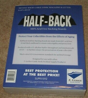 Pack of 100 E Gerber Half Back Premium Archival Large Comic Book Boards