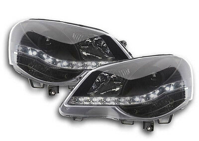 Volkswagen VW Polo Mk5 05-09 Black DRL Devil Angel Eyes Front Headlights Lights