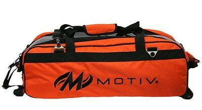 Motiv Ballistix 3 Ball Tote/Roller Orange Bowling Bag