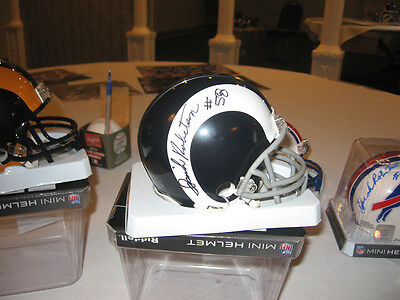 Rams Isiah Robertson signed Mini Helmet white horn  with w/COA