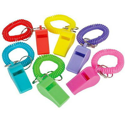 Wholesale Lot 100 Spiral Whistle Keychains Key Chain Wrist Coil Chains Elastic
