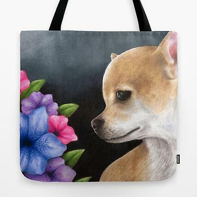 Tote Bag All over print Made in USA Dog 77 Chihuahua art painting by L.Dumas