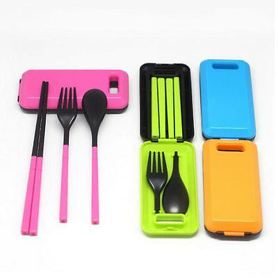 New Travel Folding Cutlery Bento Chopsticks Fork Spoon Set Storage Box Case - LD