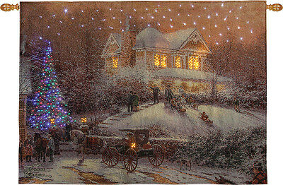 Victorian Christmas II Fiber Optic Tapestry Wall Hanging ~ Thomas Kinkade