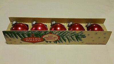 5 Vintage PINK Shiny Bright Glass Ball Christmas Ornaments in Original Box
