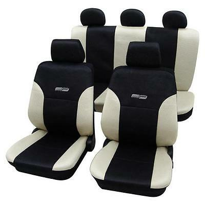Beige & Black Leather Look Car Seat Covers - For Audi A4 2004 to 2008-Washable