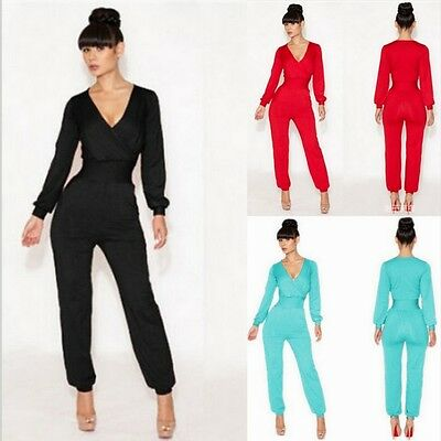 Women Casual V-Neck Long Bodycon Romper Jumpsuit Club Pants Trouser Playsuit