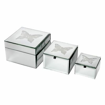 Set of 3 Mirrored Glass Jewellery Boxes Trinket Storage Diamante Butterfly Gift