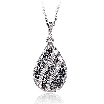 0.50ct TDW Black & White Diamond Striped Teardrop Necklace