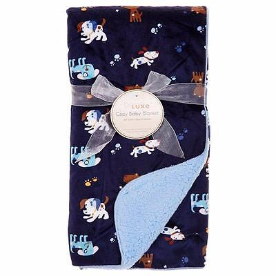 Babe Luxe Manhattan Kids Blanket Navy Blue Puppy Dog/ Blue Sherpa Back NWT