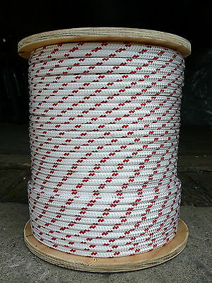 "Sailboat Rigging Rope 5/16"" x 100' White/Red Double Braided Sheet Halyard Line"