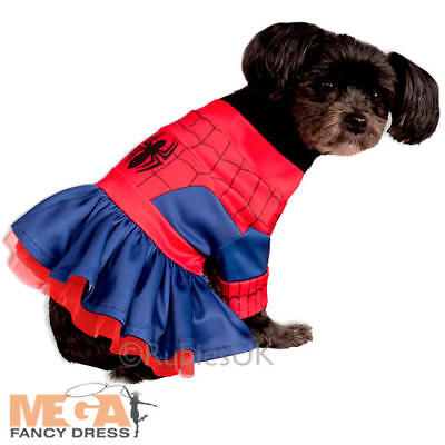 Spider Girl Dog Fancy Dress Super Hero Pet Animal Halloween Dress Up Costume New