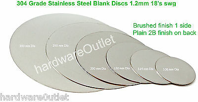 BRUSHED STAINLESS STEEL BLANK DISC 1.2mm Grade 304 Laser Cut Round Sheet Plate