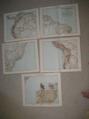 5 Sheet Huge Antique 1880 Lot Of South America Map German Maritime Brazil Nr