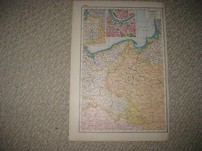 Antique 1920 East Germany Dresden Poland Prussia Post Ww1 World War One Map Nr