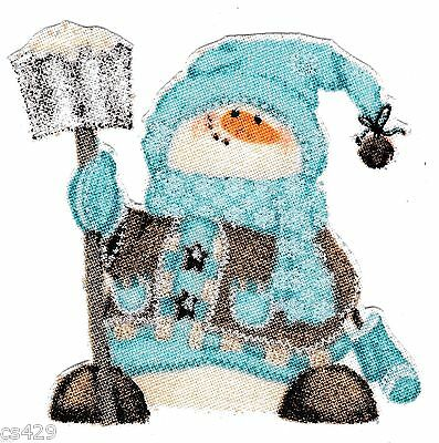 "3/"" whimsical blue penguin fishing christmas holiday fabric applique iron on"