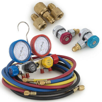 4-Way Manifold 4-Valve Gauge Hose Set R410 R22 R134a Professional AC/HVAC KIT