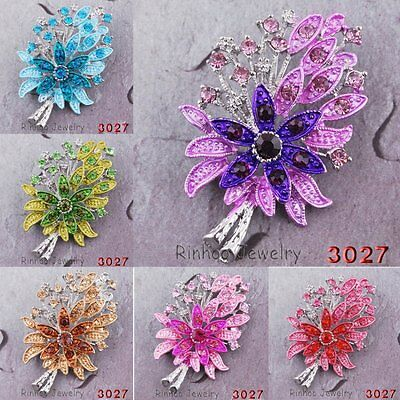 Rhinestone Flower Silver Plated Crystal Wedding Bouquet Brooch Pins Gifts Party