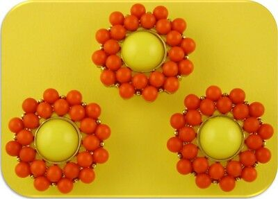 2 Hole Beads Flowers Orange & Yellow ~ Lucite ~Gold Plated Metal ~ Sliders QTY 3